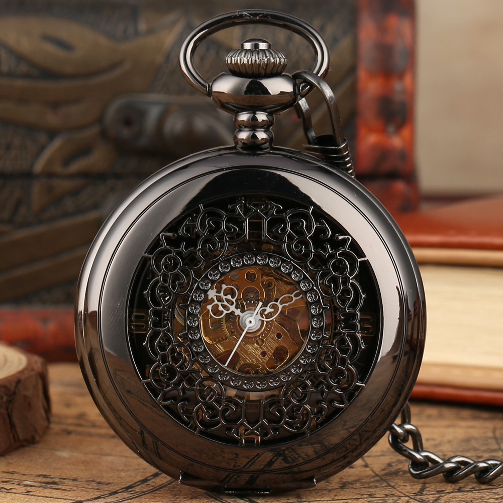 Black Bronze Mechanical Pocket Watch Casual Skeleton Dial Hand Wind Pendant Watches Fob Chain Steampunk Unisex Reloj De Bolsillo