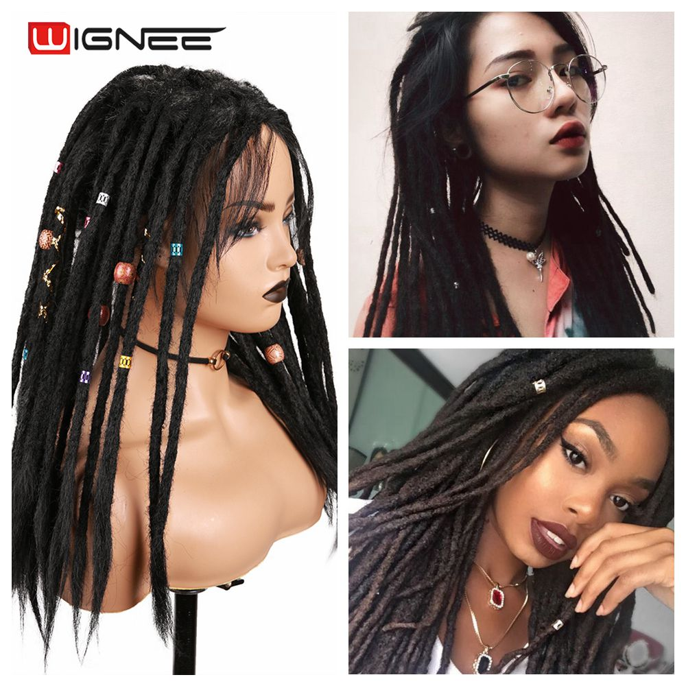 Wignee Black Synthetic Wigs Dreadlock Dreads For Black Women High Temperature Braiding Crochet Twist Fiber African Hair Wigs