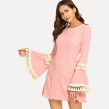 Pink female long horn sleeve casual tassel dress holiday splicing a-line dress women round neck comfortable autumn dress stylish round neck long sleeve voile spliced a line women s dress