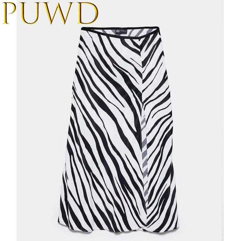 PUWD 2020 Summer New Women's Black And White Zebra Natural Waist Skirt Light And Loose Skirt