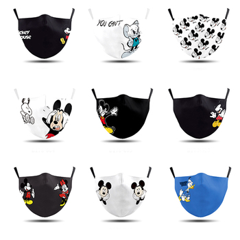 1 PCS Adult Mask Mickey 3D Mask Face Mouth Mask Haza Washable Reusable Mask Anti-dust Printing Mask with 2 Free Filters