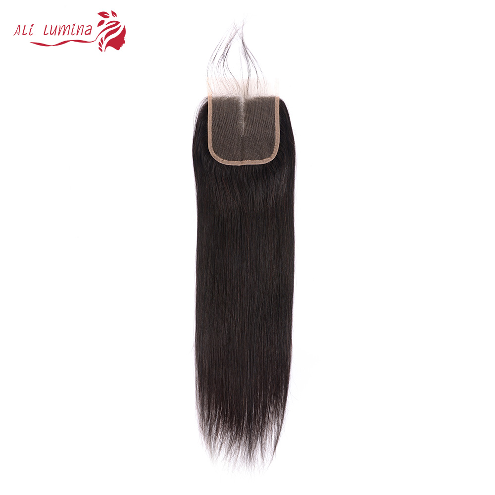 4x4 Lace Closure 100%  Closure  Sample     Hair Straight Frontal 8 Inches Short Hair 1