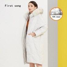 Winter 90% white duck down long down jacket 2019New warm jacket hooded coated PU women's jacket down robes Doudoune Femme XL недорого