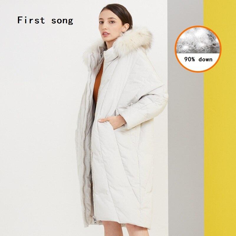Winter 90% witte eendendons lange down jas 2019New warme jas hooded gecoat PU vrouwen jas down gewaden Moncler femme XL