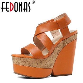 FEDONAS Women New Arrival Thick Bottom High Heeled Women Sandals Kid Suede Party Shoes Spring Summer High Quality Shoes Woman
