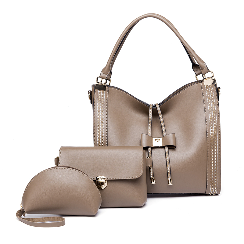Ceossman 3Pcs/Sets Women Handbags Leather Shoulder Bags Female Large Capacity Casual Tote Bag Bucket Purses Messenger Sac A Main