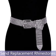 luxury womens rhinestone belt female bright bride wide bling crystal diamond waist Long chain rhinestones Pearl Belts