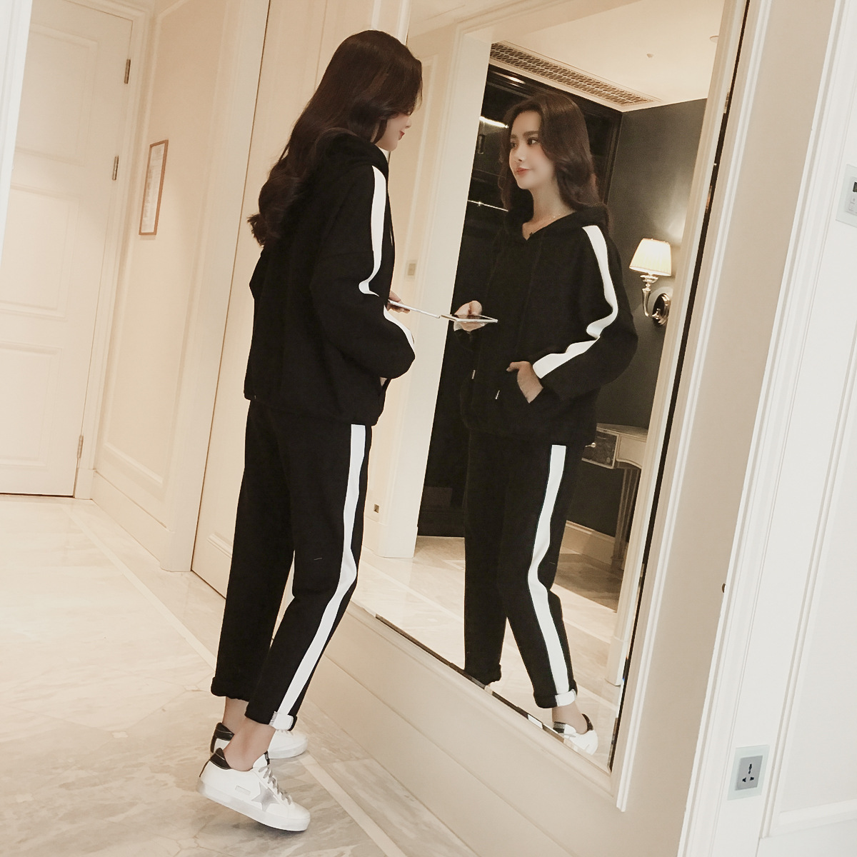 Hoodie 2019 Women's Spring And Autumn New Style Korean-style Loose-Fit Hooded Students Ulzzang Casual Sports Two-Piece Set Winte