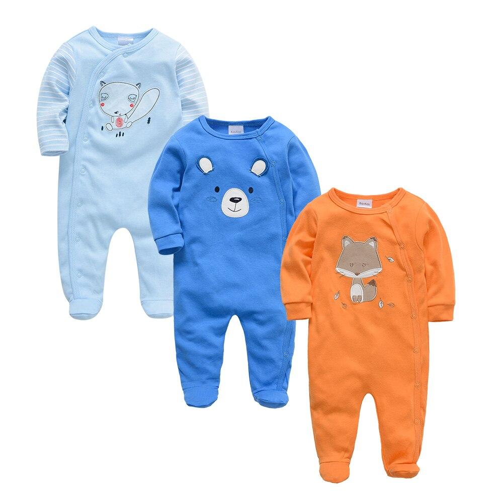 Kavkas Baby Boy Romper 3 Pcs/set Summer 100% Cotton Clothes Long Sleeve Cartoon Printed Girl Newborn Jumpsuit