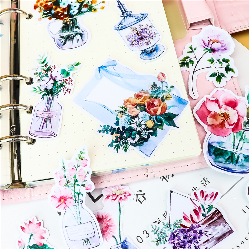 21pcs Cute DIY Flower Stickers Creative Stickers Car Case Waterproof Laptop Bicycle Kids Toys Backpack Waterproof Sticker