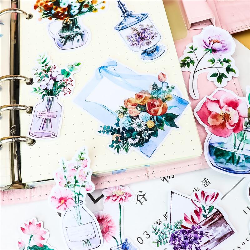 21pcs Cute DIY Flower Stickers Creative Stickers Car Case Waterproof Laptop Bicycle Kids Toys Backpack Waterproof Sticker
