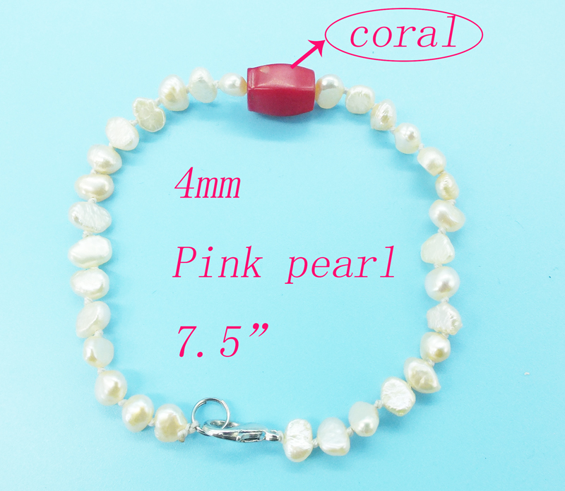 "Промо-Акция! 4 мм натуральный жемчуг браслет 7,5"" - Metal Color: Pink pearl coral"