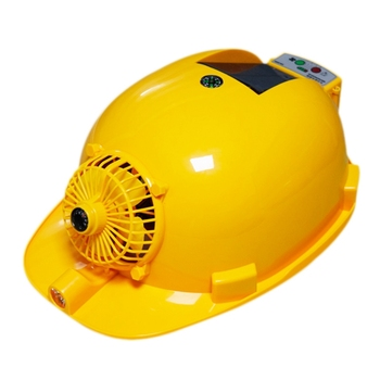 Solar Charging Power Bank Air Conditioner Cooling Fan Outdoor Working Hard Hat Construction Worker Helmet.