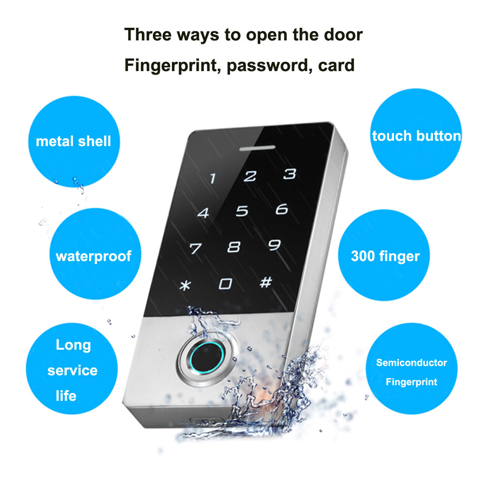 Waterproof Fingerprint Touch Keypad Metal Shell Access Control Support  Password / ID Card / Finger/ 300pcs Finger 10000 ID Card