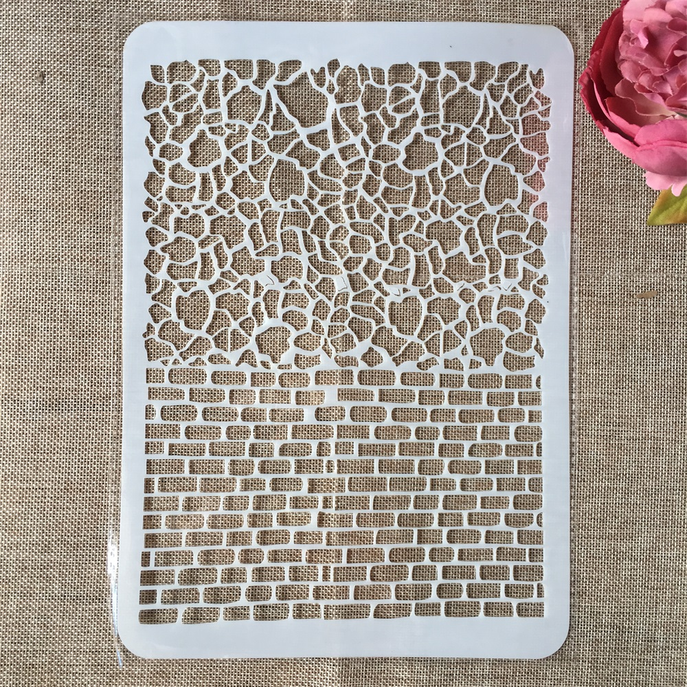 29cm A4 Brick Mosaic DIY Layering Stencils Wall Painting Scrapbook Coloring Embossing Album Decorative Paper Card Template