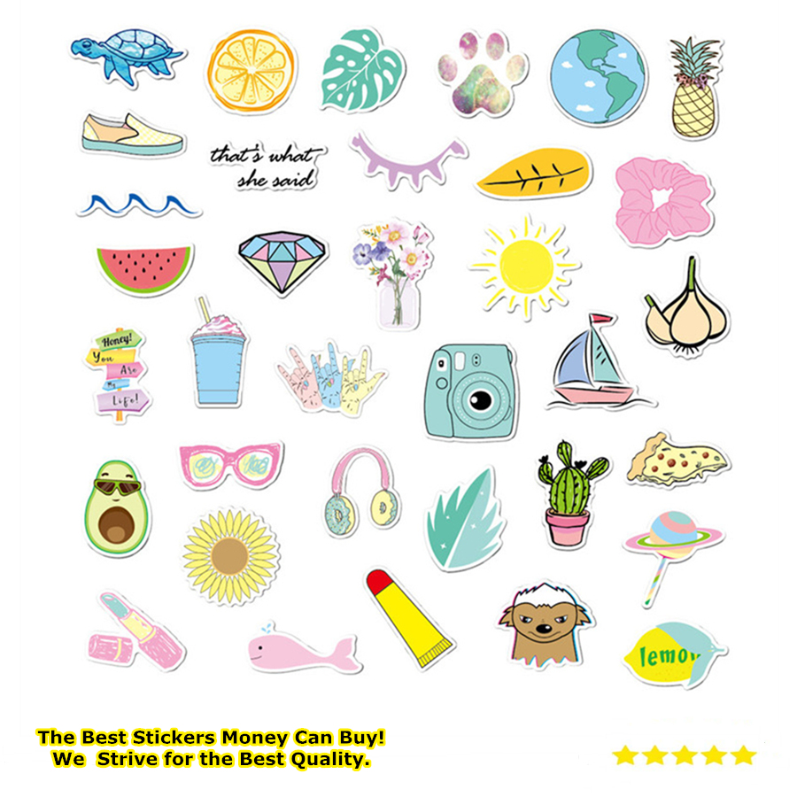 35 Pcs Kawaii Vsco Girls Stickers For Children Toy Waterproof Sticker To Diy Laptop Luggage Bicycle Helmet Car Stationery Decals Assorted Stickers Aliexpress