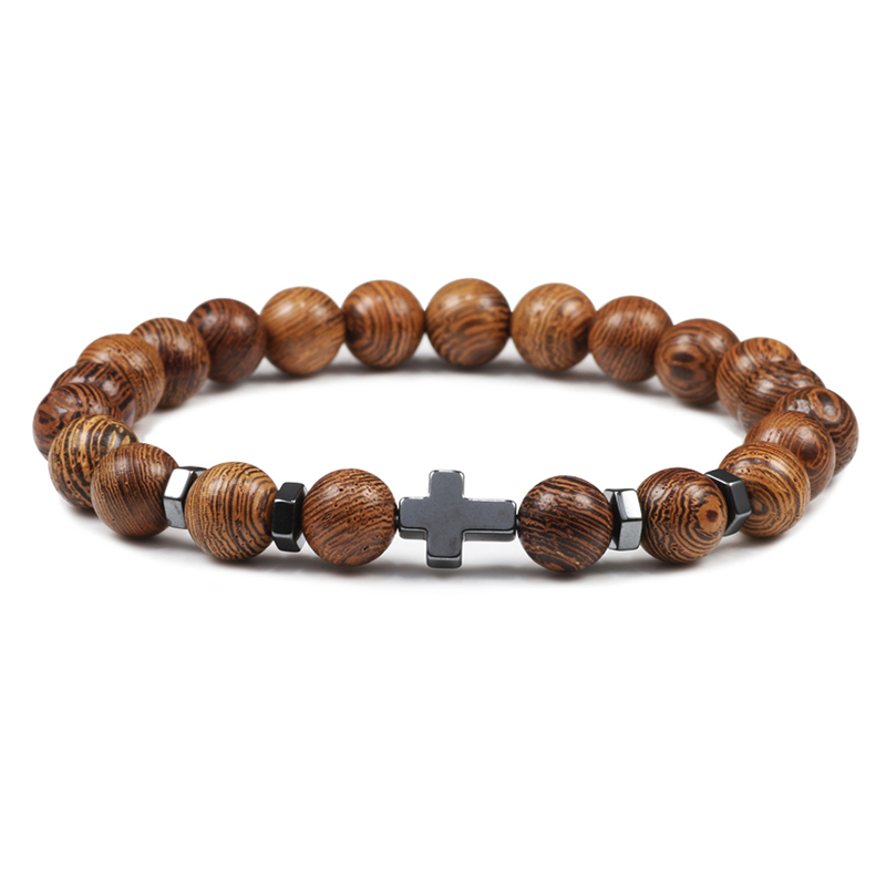 Prayer Men Women Bracelet Hematite Cross Rosary Natural Stone Beads Jesus Onyx Meditation Bracelets Bangles Jewelry Gift Pulsera