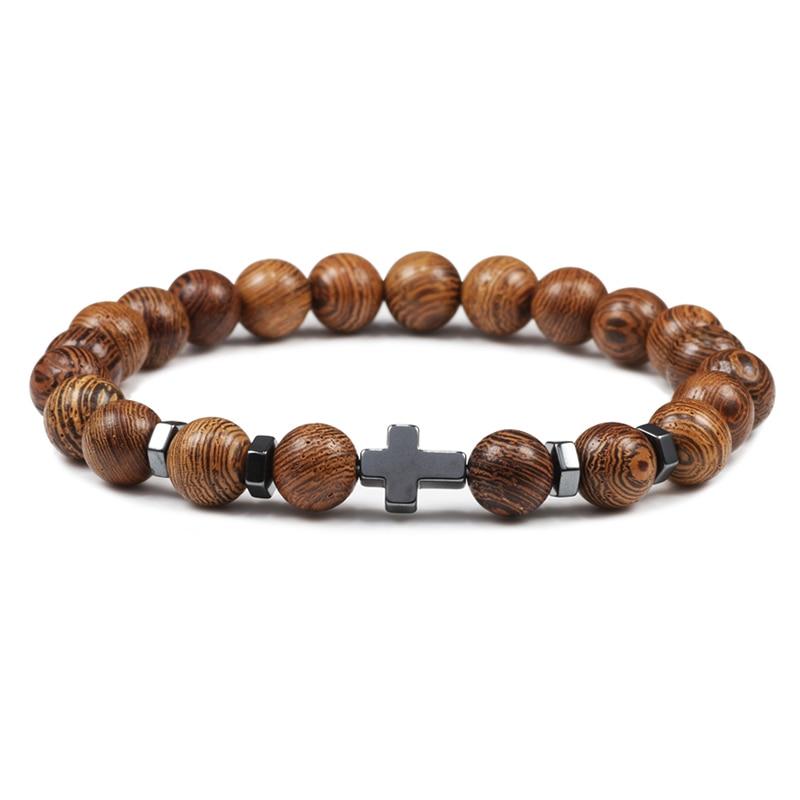 Prayer Men Women Bracelet Hematite Cross Rosary Natural Stone Beads Jesus Onyx Meditation Bracelets Bangles Jewelry Gift Pulsera