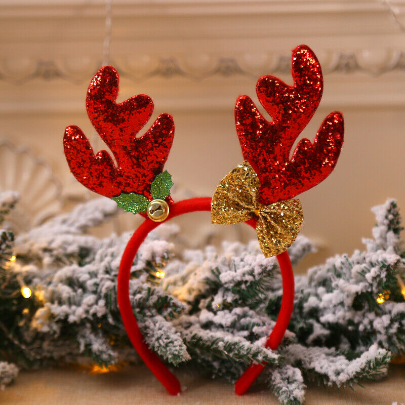Рождественские повязки на голову для маленьких детей; Нарядная повязка на голову с оленьими рогами; рождественские детские повязки на голову; вечерние головные уборы; популярные аксессуары для волос; подарок - Цвет: Красный