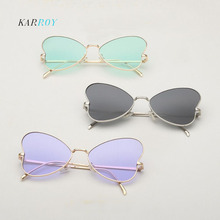 Metal Butterfly UV400 Women Sunglasses Fashion Colorful Coating Ladies Glasses 2019