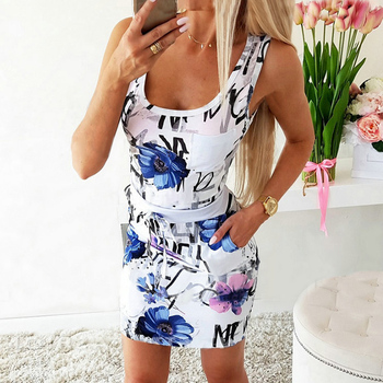 Fashion Sexy Off Shoulder Floral Printed Sleeveless Women Bodycon Dress Party Night Summer