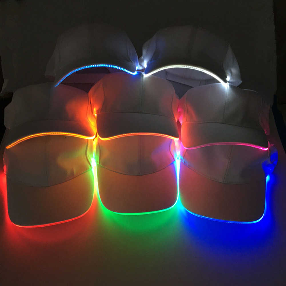 Hot  Fashion Unisex Solid Color LED Luminous Baseball Hat Christmas Party Peaked Cap