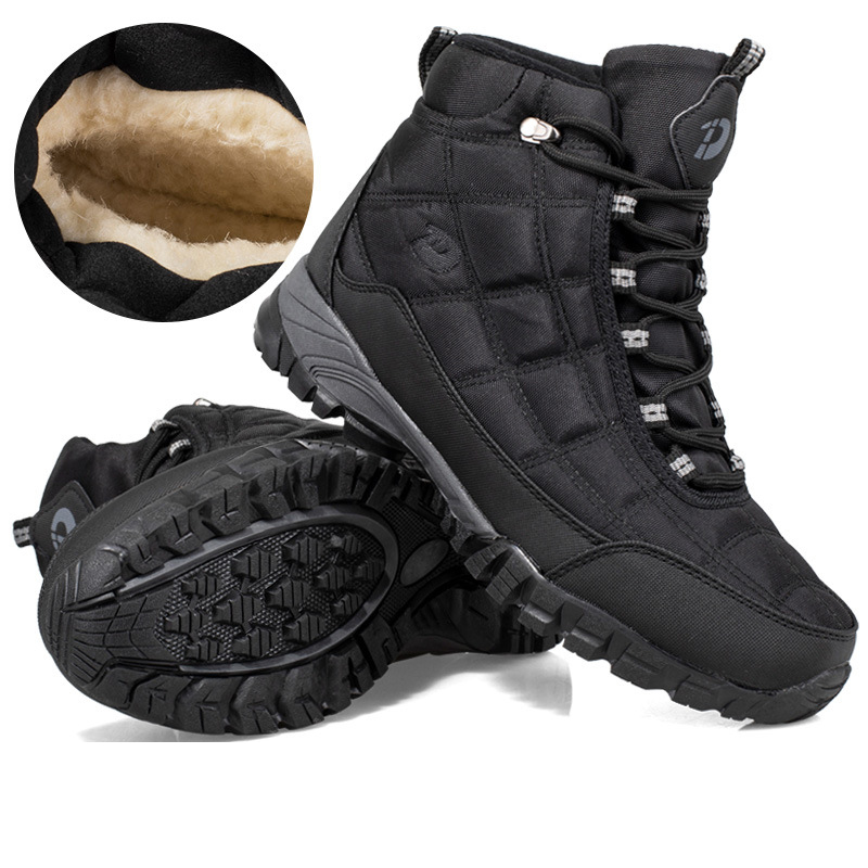 New Quality Plus Men's Casual Shoes Winter Non-Slip Warm Snow Boots With Fur Wear-Resistant High-Top Working Cotton Shoes 40-45