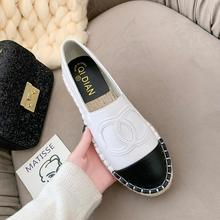 Black Beige Pu Espadrilles Shoes Women Round Toe Thick Bottom Creepers Flats Shoes Slip On Ladies Loafers Casual Mocassi A17