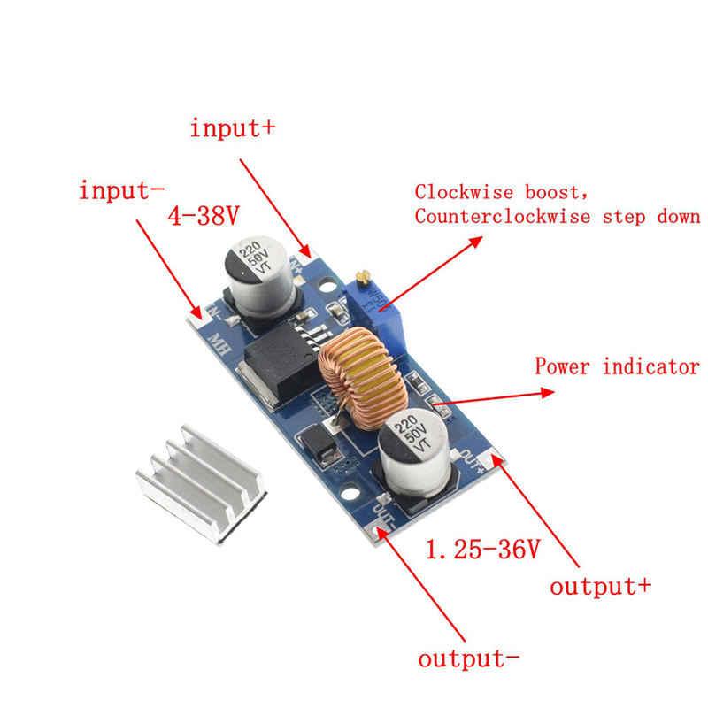5 قطعة 5A Xl4015 تيار مستمر-تيار مستمر 4-38 فولت إلى 1.25-36 فولت 24 فولت 12 فولت 9 فولت 5 فولت تنحى قابل للتعديل وحدة امدادات الطاقة Led شاحن ليثيوم مع بالوعة الحرارة
