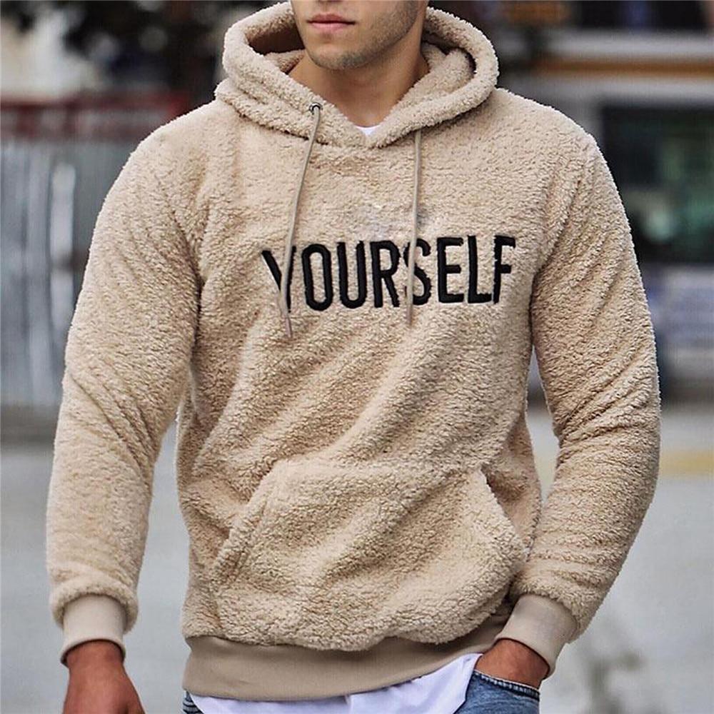 Autumn Winter Men Warm Plush Fleece Hoodie Sweatshirts Casual Long Sleeve Letter Print Hooded Pullover Top With Kangaroo Pocket