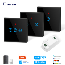Wifi Smart DIY Light Switch 433MHz RF Switch Glass Touch Panel Smart Home Automation Module Support Alexa Google Home Tuya App(China)