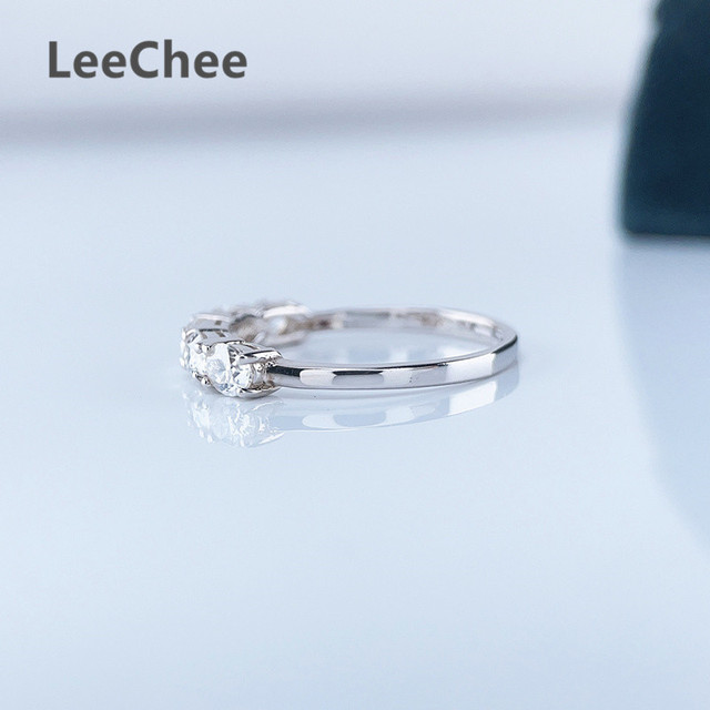 3*4MM Oval Moissanite Ring VVS 5 Pieces Lab Diamond Fine Jewelry for Girl Wedding party Gift Real 925 Sterling Silver Band Ring 5