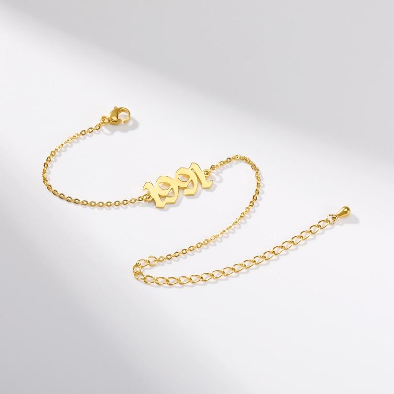 Personalized Number Bracelet Year 1990 1999 1988 Custom Bracelet Stainless Steel Old Englih Bracelet Jewelry For Men Maxi Colar
