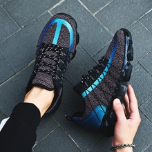 Кроссовки мужские сетчатые на шнуровке, легкие удобные дышащие, повседневная обувь со светоотражающими полосками