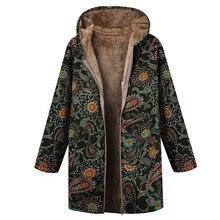 Abrigos con capucha de talla grande de algodón chaqueta de invierno para mujer Vintage con cremallera dibujo étnico con capucha abrigos y chaquetas de invierno para mujer