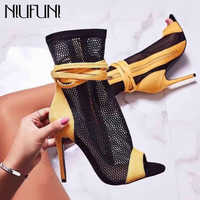 NIUFUNI Sexy Women's HIgh Heels Peep Toe Ankle Boots Fashion Laces Hollow Stiletto Sandals Boots Party Club Shoes Woman Size 42