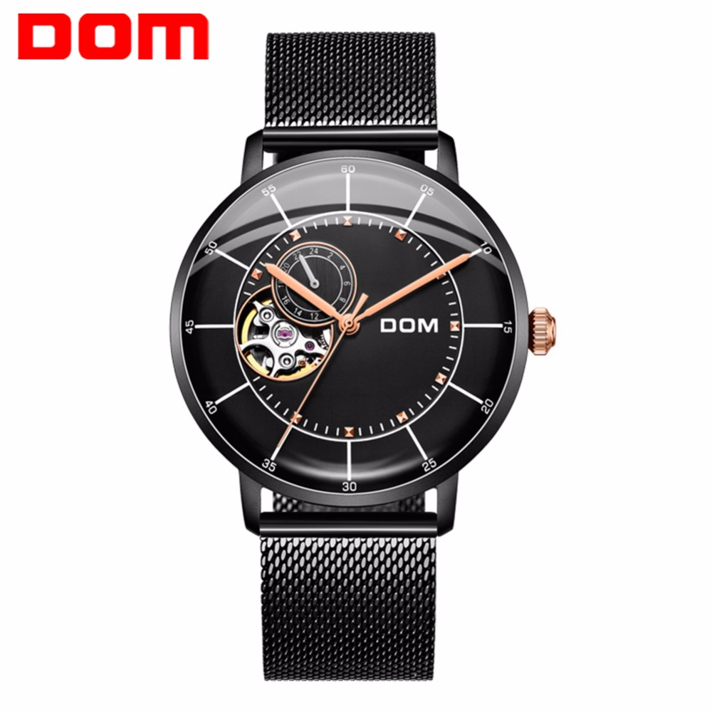DOM Mechanical Watches Men Skeleton Watch Automatic Mechanical Mens Watches Waterproof Self-winding Clock Stainless Steel