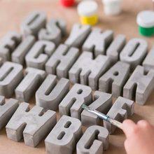 Alphabet Decorative Concrete Molds Silicone Plaster Mold 3D