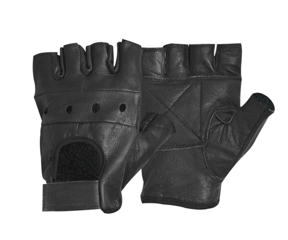 Fashion Men's Leather Gloves Solid Black Gloves Half Finger Fingerless Stage Sports Driving