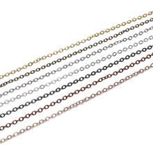 5 м/лот, Ширина 1,5, 2 мм, серебро, золото, медь, овальные звенья, цепочка для изготовления ювелирных изделий, аксессуары, браслет, сделай сам, поставки