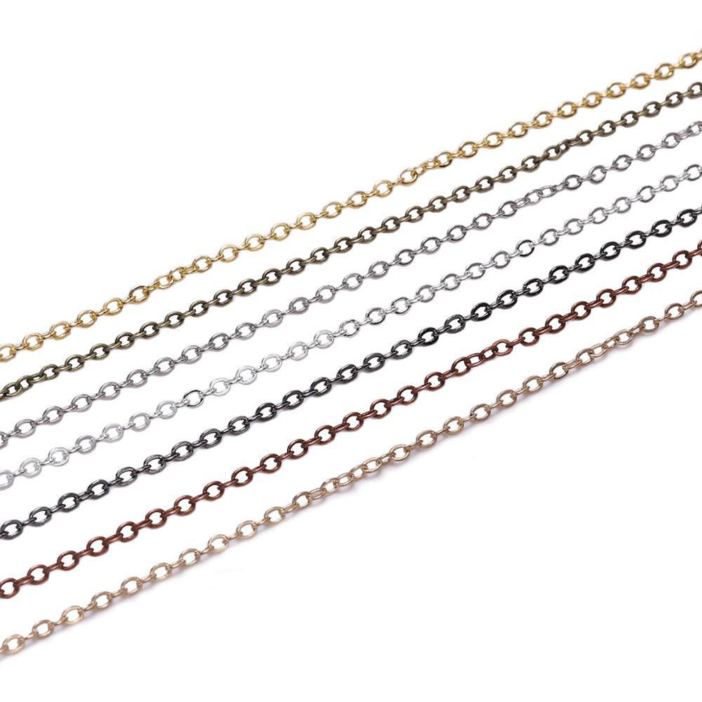 5 м/лот, ширина 1,5 2 мм, Золотая медь, овальная цепочка, цепочка для ювелирных изделий, фурнитура, аксессуары, браслет, принадлежности для рукод...