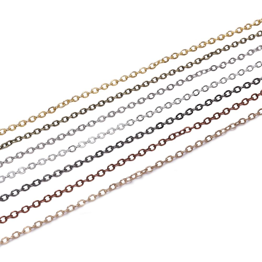 5m/lot Width 1.5 2mm Silver Gold Copper Oval Link Necklace Chain For Jewelry Making Findings Accessories Bracelet DIY Supplies