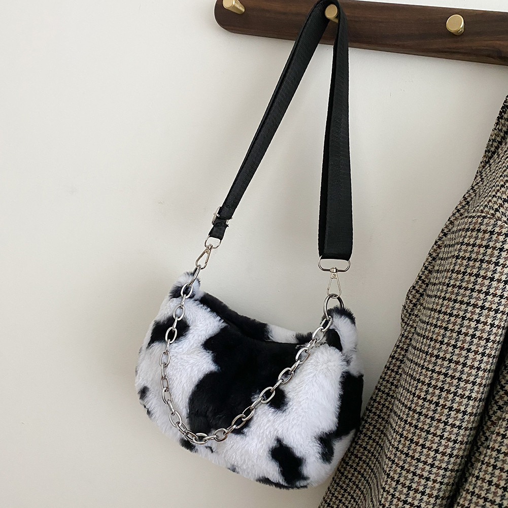 2021 New Winter Cow Print Shoulder Bags For Women Soft Plush Handbag Female Chain Bag Crossbody Warm Fur Fluffy Bag sac femme