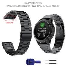Yooside 22 Mm Quickfit Fenix 6 Metalen Roestvrij Stalen Horloge Band Strap Voor Garmin Fenix 5/5 Plus/Instinct/ forerunner 935 Polsband