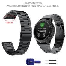 Yooside 22mm quickfit fenix 6 금속 스테인레스 스틸 시계 밴드 스트랩, garmin fenix 5/5 plus/instinct/forerunner 935 wristband