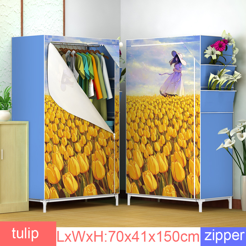 Bedroom Non-woven Cloth Wardrobe Simple Assemble Folding Clothing Storage Cabinet Light Dustproof Cloth Closet Bedroom