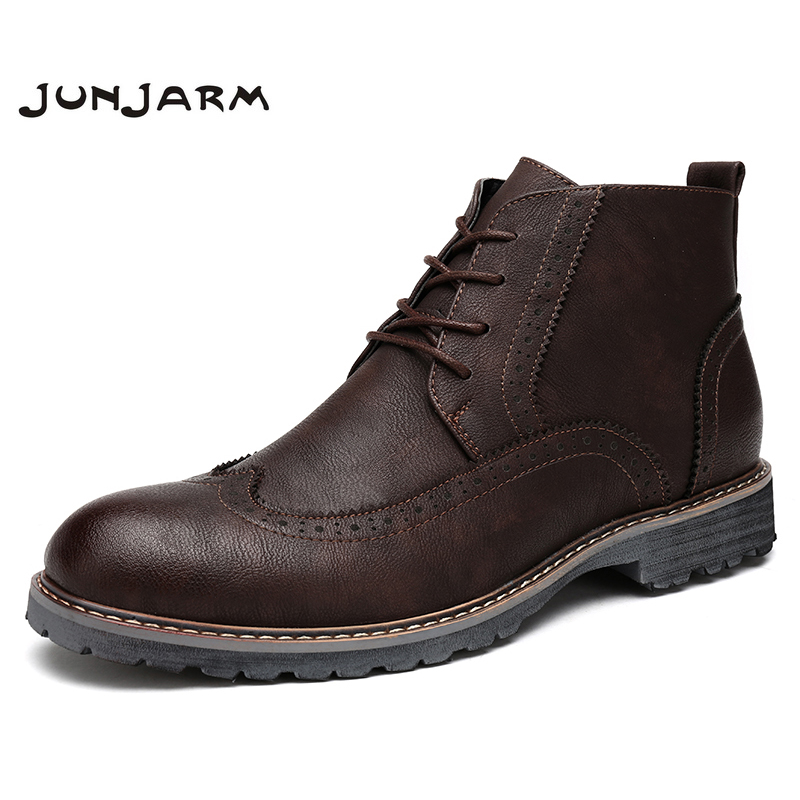 JUNJARM Men Boots Fashion Men Ankle Boots Lace-Up Handmade Men Brogue Shoes British Style Microfiber Casual Men Footwear