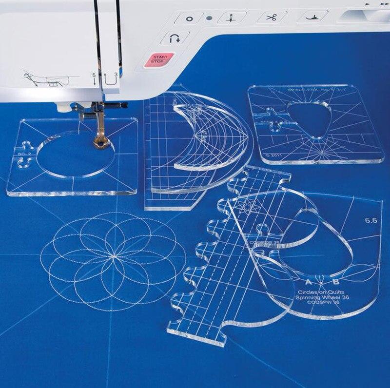 Novo modelo de governante amostra set para máquina de costura doméstica 1 set = 6pcs # RL-06