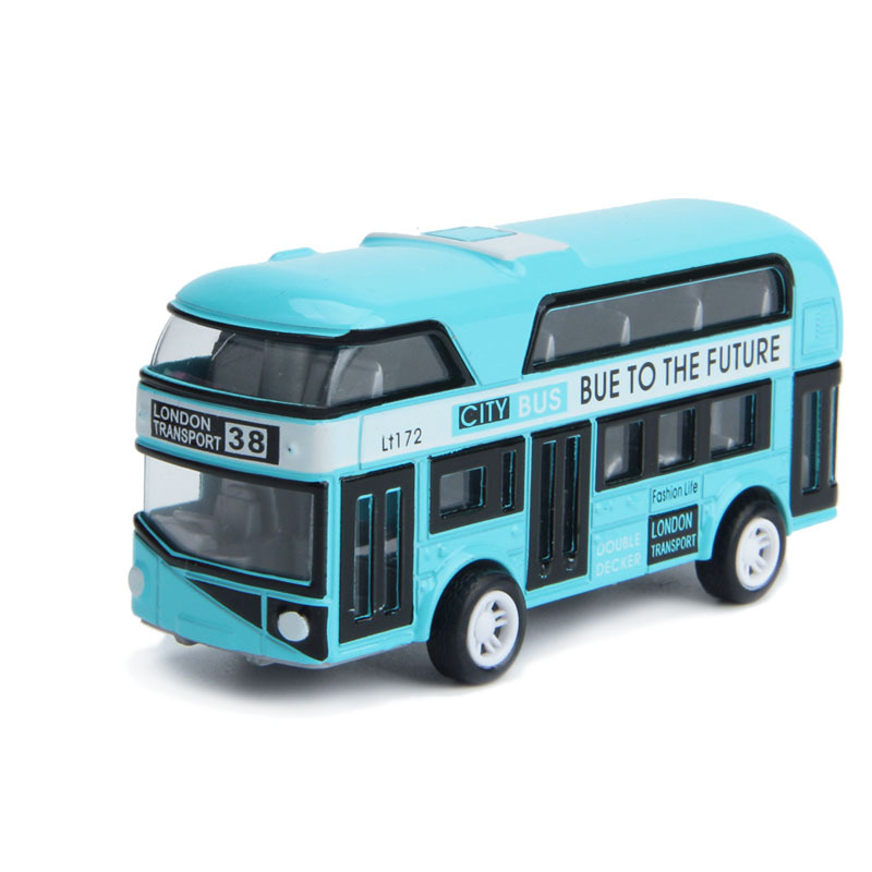 Double-Decker Bus London Bus Design Car Toys Sightseeing Bus Vehicles Urban Transport Vehicles Commuter Vehicles,Blue
