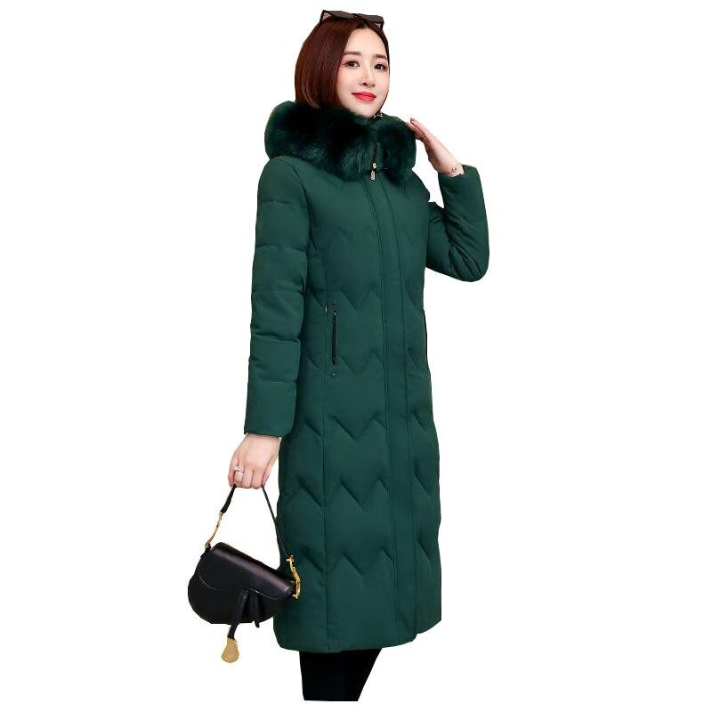 Chic Fur   Coat   Hooded Winter   Down     Coat   Warm Jacket Plus Size Long Slim Women Cotton padded Wadded Parkas female jacket